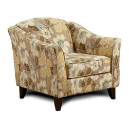 "Chelsea Home Hudson Accent Chair - Daintree Flax - Welcome soothing floral patterns into your living room, bedroom or lounge area with this Chelsea Home Hudson Accent Chair - Daintree Flax. You and your guests will enjoy this eye-pleasing addition – featuring soft blue, tan, olive and brown – as you gather for coffee, enjoy brunch or catch up on the latest news. The spacious chair measures 35 inches wide and deep, and is casually styled with an arched back and downward curving armrests. The seat cushion is removable and reversible and features an innovative sinuous spring system that maximizes comfort and support while preventing the draining ""sinking in"" feeling that so often accompanies substandard couch cushions. The frame was constructed from solid hardwood and includes four visible dark wooden legs that add stability and complement the subtle colors of the chair.About Chelsea Home FurnitureProviding home elegance in upholstery products such as recliners, stationary upholstery, leather, and accent furniture including chairs, chaises, and benches is the most important part of Chelsea Home Furniture's operations. Bringing high quality, classic and traditional designs that remain fresh for generations to customers' homes is no burden, but a love for hospitality and home beauty. The majority of Chelsea Home Furniture's products are made in the USA, while all are sought after throughout the industry and will remain a staple in home furnishings."