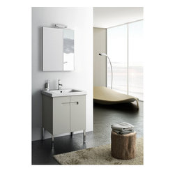 ACF - 24 Inch Matte Canapa Bathroom Vanity Set - This luxury 24 inch Italian-made bathroom vanity set features a waterproof panel made of engineered wood in a beautiful matte canapa finish.