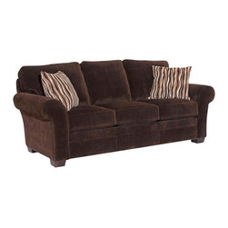 Broyhill - Broyhill Zachary Dark Brown Queen Goodnight Sleeper Sofa with Affinity Wood Fini - Broyhill - Sleeper Sofas - 79027Q - About This Product:_�
