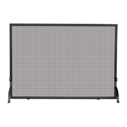 Uniflame - Rectangular Single Panel Fire Place Screen w - Iron fire screen is the right choice for your medium-sized fireplace.  Transform the space surrounding your fireplace with this stylish addition.  Experience the functional & decorative difference a swanky fire screen can make.  Black, rectangular frame accentuating mesh screen is stunning.  Curved iron front legs lend ability & beauty to single-panel fire screen. * Stylish Screen is Functional and Attractive. Maintains Fireplace Safety. Allows For Ease and Comfort with Fireplace Maintenance. 44 in. W x 33 in. H
