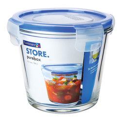 None - Purebox Deep Round Storage Containers - This durable and long-lasting alternative to storage methods features tight sealing lids to prevent unwanted spills and leaks in a 3.5-cup capacity. Able to nest for easy storage when not in use, the glass containers double as excellent bakeware.