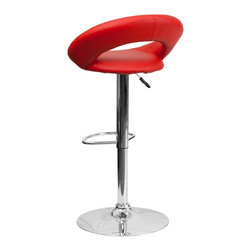Flash Furniture - Flash Furniture Barstools Residential Barstools X-GG-DER-118-SD - The orbit shaped support and round seat of this adjustable bar or counter stool is upholstered in a durable, easy to clean vinyl upholstery. The height adjustable swivel seat adjusts from counter to bar height with the handle located below the seat. The chrome footrest supports your feet while also providing a contemporary chic design. [DS-811-RED-GG]