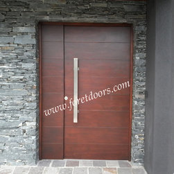 Modern front entry doors / contemporary front entry doors - Solid wood contemporary entry door with flat stainless steel pull