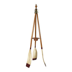 Authentic Models - Authentic Models FE117 Oxford Varsity Coat Stand - Three oars make up a sturdy and attractive coat stand. Brass hardware, turned finial, rattan key & change basket. Practical, attractive, colorful. Assembly required.