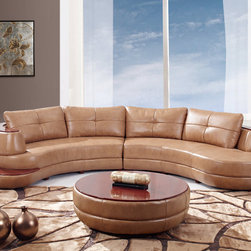 Global Furniture - 2Pc Sectional in Honey Bonded Leather - This ultra modern 2 piece sectional set finished in honey colored bonded leather consists of left and right arm loveseats to create a coordinated seamless sectional sofa set. The left armrest features a curved wood designed for added drama and style. Comp