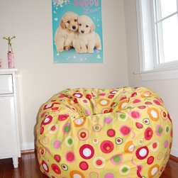 """Bean Bag Chairs for Girls Rooms - Ahh! Products Bubbly cotton bean bag chair in citrus colorway. Remove and wash cover, water-repel liner. 37"""" large size. 10 year warranty, Made in USA."""