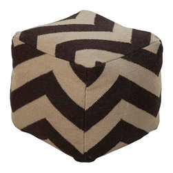 POUF-232 Frontier Pouf - This square pouf has a distinctive and stylish pattern that is soon to be a conversation piece.  Made in India with one hundred percent wool, this pouf is durable and priced right. With a fun and fresh pattern, these poufs make a simple, yet sophisticated statement in any room.