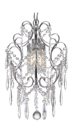 The Gallery - Chrome Crystal chandelier Lighting dressed with Icicle Crystal - 100% crystal chandelier. A Great European Tradition. Nothing is quite as elegant as the fine crystal chandeliers that gave sparkle to brilliant evenings at palaces and manor houses across Europe. This beautiful chandelier from the Versailles Collection has 1 light and is decorated and draped with 100% crystal that captures and reflects the light of the candle bulb. The timeless elegance of this chandelier is sure to lend a special atmosphere anywhere its placed!