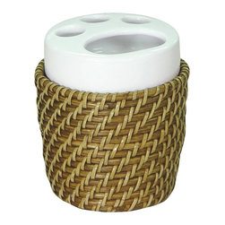 Elegant Home Fashions - Toothbrush Holder in Honey - Hana - Hand weaved. Honey finish. 3.75 in. D x 3.75 in. W x 4.625 in. HThis collection will add an elegant took that will bring a unique beauty to your bathroom.