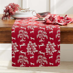 Prancing Deer Table Runner - This red runner with white deer would look very festive for the holidays, but you really could use it all year long.