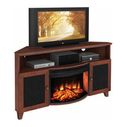 "Furnitech - Tucker Corner Electric Fireplace Entertainment Center in Dark Cherry - FT61SCCFB - The Tucker Corner Electric Fireplace Entertainment Center in Dark Cherry is an efficient way to provide supplemental heat, while offering an attractive way to display a TV up to 65"" and other media components. This innovative entertainment center features deep and rich coloring and clean lines that will look great in nearly any setting."