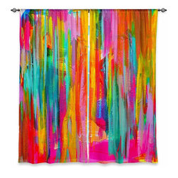 """DiaNoche Designs - Window Curtains Lined by Jackie Phillips Neon Double Abstract - DiaNoche Designs works with artists from around the world to print their stunning works to many unique home decor items.  Purchasing window curtains just got easier and better! Create a designer look to any of your living spaces with our decorative and unique """"Lined Window Curtains."""" Perfect for the living room, dining room or bedroom, these artistic curtains are an easy and inexpensive way to add color and style when decorating your home.  This is a woven poly material that filters outside light and creates a privacy barrier.  Each package includes two easy-to-hang, 3 inch diameter pole-pocket curtain panels.  The width listed is the total measurement of the two panels.  Curtain rod sold separately. Easy care, machine wash cold, tumble dry low, iron low if needed.  Printed in the USA."""