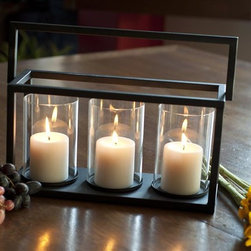 Danya B - 3 Pc Triple Hurricane Candle Holder Basket Se - Includes three (3) glass hurricanes, 1 iron stand. Remove glass for cleaning. 16 in. L x 6 in. W x 8 in. H (4 lbs)