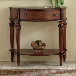 Butler - Plantation Cherry Demilune Console Table - Classic and sophisticated, this console table will be a lovely addition to your home. This demilune console table boasts a dainty charm with its cherry finish and artfully carved details and scalloped edge. A beautiful walnut, cherry and maple veneer inlay design is on the top and bottom shelf. A convenient single drawer with antique brass finished knobs offers storage space. Crafted from select solid woods and choice veneers Features: -Made from select solid wood and choice veneers.-Walnut, cherry and maple veneer inlay on top and lower shelf.-Lower display shelf.-4 Hand-carved legs.-Plantation cherry finish.-Single drawer with antique brass finished knobs.-This item has a distressed finish.-Collection: Plantation Cherry.-Distressed: Yes.Dimensions: -Overall Product Weight: 50 lbs.
