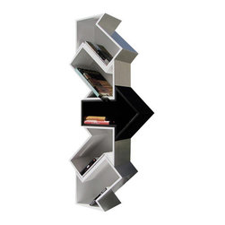White Modern Shelf Direction - Electra is a modular shelving unit in birch plywood composed of 5 elements in the shape of arrows, four lacquered white and one lacquered black.