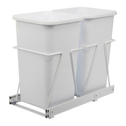 Double 27 qt. White Trash Bins with Pull-Out Steel Cages - Recycling is so important, but it can be annoying if you can't do it easily. Make things simple by having two cans so that you can have both the trash and the recycling available at the same time.