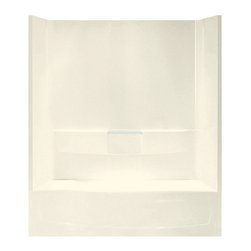 Sterling - Sterling Performa 71040116 60W x 75.5H in. Bathtub Shower Combo with Age in Plac - Shop for Tubs from Hayneedle.com! The Sterling Performa 71040116 60W x 75.5H in. Bathtub Shower Combo with Age-in-place backers is a great choice for individuals concerned with shower safety. Many household accidents occur in the bathroom - that's why this bathtub and shower combo has taken every precaution to ensure you won't slip. It features ample shelving a convenient towel bar lightly pebbled bottom surface for sure footing and age-in-place factory-installed backers for later grab bar installation. A spacious bath with three high walls the Performa by Sterling offers a relaxing experience for individuals of all shapes and sizes. The Sterling name has a reputation for superior craftsmanship at every level and the solid Vikrell construction of this unit is no exception. The compression-molded Vikrell is a Sterling exclusive that provides strength durability and a lasting beauty. Customize your purchase with an almond biscuit or white finish that's coated in a high-gloss that creates a smooth shiny surface which is easy to clean. This CSA-certified bathtub measures 60W x 29D x 75.5H inches and is ADA-adaptable when installed per the requirements of the Accessibility Guidelines Section 607 Bathtubs. Choose from either the left-hand or right-hand drainage hole model depending on your home setup.Product Specifications:Overall Height: 75.5 inchesOverall Width: 60 inchesOverall Depth: 29 inchesHeight (Back Panel): 75.5 inchesWidth (Back Panel): 60 inchesThickness (Back Panel): 1 inchHeight (Side Panel): 75.5 inchesWidth (Side Panel): 29 inchesThickness (Side Panel): 1 inchBase Shape: Oval in rectangleInstallation Type: AlcoveNumber of Thresholds 1Drain Placement: Left or rightAbout SterlingEstablished in 1907 and quickly recognized as a leading manufacturer of faucets and brassware Sterling has been known for their diversity of products and industry-leading designs for over a 