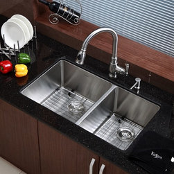 Kraus - 33 in. Undermount 60/40 Double Bowl Stainless Steel Kitchen Sink - Add an elegant touch to your kitchen with a unique and versatile undermount sink from Kraus
