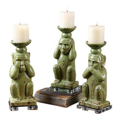 Uttermost Toma Ceramic Candleholders S/3 - Distressed, antiqued pale green with clear crystal base. Distressed off-white candles included. Distressed, antiqued pale green ceramic a with clear crystal base. Distressed off-white candles included.