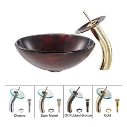 Kraus - Kraus Saturn Glass Vessel Sink and Waterfall Faucet Gold - *Add a touch of elegance to your bathroom with a glass sink combo from Kraus