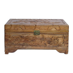 Golden Lotus - Chinese Camphor Wood Lotus Carving Storage Accent Trunk - This is a Chinese Camphor wood trunk carved with relief carving of lotus flower on four sides. It is good for clothing storage as well as home decoration. The leg is removable.