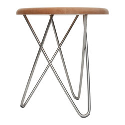 Ampersand - Delta Stool, Hard Maple Top With Stainless Steel Legs - Perplexing in its simplicity, Delta appears unbalanced, yet stands strong in its construction. Its structure is formed by three hairpin legs that sturdily interlock, requiring no hardware or adhesives. Delta stools can be found as humble side seating, or tables, in living spaces, meeting areas, waiting rooms, lobbies, and bedrooms. They are also excellent in retail and educational environments. Hand-made by Ampersand in Cincinnati, OH from locally-sourced black walnut or hard maple and American-made stainless steel or brass.