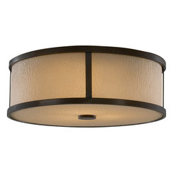 Murray Feiss - Murray Feiss Preston Transitional Flush Mount Ceiling Light X-ZBTH433MF - A clean drum shade shape draws the eye in and adds subtle modern flair to this Murray Feiss ceiling light. From the Preston Collection, it features a beautiful bark texture on the amber etched glass, which adds flair and visual interest. It also features a warm Heritage Bronze finish that compliments the buttery tones of the amber glass and completes the look. Suitable for damp locations.