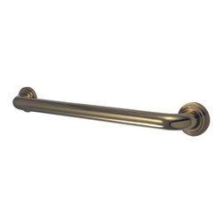 Kingston Brass - 18in. Decorative Grab Bar - Fabricated from solid brass material for durability and reliability, 1-1/4in. gripping surface on grab bar, Easy to install, 1-1/2in. (38mm) wall clearance meets ADA standard, Mounting hardware included (2x#10 Philips Head Screw. Total 6pcs), 18in. overall length, 1-1/4in. outer diameter, One Year Limited Warranty to the original consumer to be free from defects in material and finish.