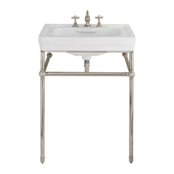 Lutezia 28 Inch Console Lavatory Sink by Porcher - I love everything from the Porcher Lutezia collection. It just has that perfect vintage styling - not too fussy and perfectly proportioned. I know everyone worries about losing storage when doing a console or pedestal over a cabinet, but it's so worth it! It makes the space seem so much larger.