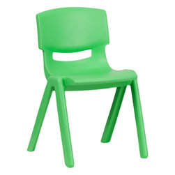 Flash Furniture - Flash Furniture Green Plastic Stackable School Chair with 13.25'' Seat Height - This chair is the perfect size for Kindergarten to 2nd Grade sized children. Having young children sit in a chair that is designed for them is important in developing proper sitting habits that will last them a lifetime. Not only are these chairs designed properly, but they are lightweight so kids can feel independent by moving the chairs themselves.