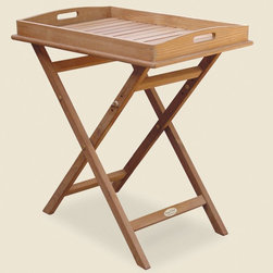 Royal Teak Collection - Royal Teak Tray Top Outdoor End Table - TRST - Shop for Tables from Hayneedle.com! A host's best friend the Royal Teak Tray Top Outdoor End Table makes it easy to carry and serve refreshments on your patio or deck. A foldable table and serving tray all-in-one this convenient piece is constructed from solid teak a type of wood that's incredibly durable and well-suited for outdoor environments. You can load it up with lemonade and cookies in the kitchen and carry it out to your guests as they lounge on patio chairs. The foldable design adjusts to three different heights to accommodate your needs. No assembly required.About TeakTeak wood is universally recognized for its quality durability and beauty. Teak is a very hard densely grained wood with high oil content. The unique combination of these characteristics makes teak naturally resistant to moisture rot warping shrinking splintering insects and fungus. It is considered the ideal wood for outdoor furniture.If left untreated teak weathers naturally to a beautiful silver gray color. The weathering process will change the color but the grain will still be smooth. There will be no splitting or splintering. You may treat each piece of your set with teak oil if you wish to retain the original wood color.