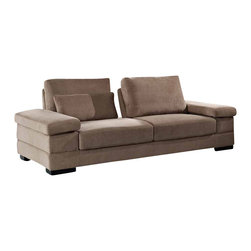 Creative Furniture - Capri Mocha Fabric Sofa with Magic-flex Mechanism - Customize the comfort for your family and guests with this modern and functional Capri Sofa with Magic-flex mechanism that allows the pillow-backs to move from deep position to extra deep. The sofa has solid wood frame and wooden legs.    Features: