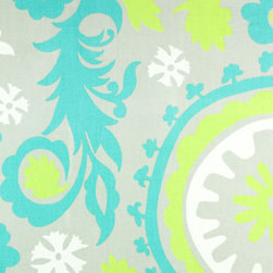 New Arrivals Inc. - New Arrivals Inc Fabric - Suzani in Lime and Aqua - New Arrivals Inc Fabric - Suzani in Lime and Aqua