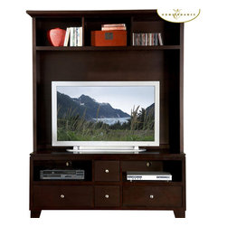 Homelegance - Homelegance Hailey 2-Piece Entertainment Center - Casual style with functional design is showcased in this Hailey collection. Top shelf and bottom drawers offer plenty of storage space for gaming console, movie collections, and other accessories. It is crafted of select hardwoods and veneers in espresso finish.