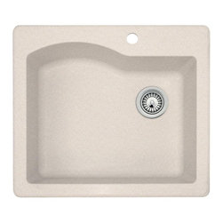 Swanstone - Swanstone QZ02522SB Single Basin Drop In/Undermount Kitchen Sink - 715781 - Shop for Kitchen from Hayneedle.com! Add intriguing contemporary style to your kitchen with the Swanstone QZ02522SB Single Basin Drop In/Undermount Kitchen Sink and its subtle details. This sink is made to endure scratches stains and heat without issue thanks to its granite composite construction. You can choose from a number of available finishes to fit your kitchen's decor perfectly. About SwanstoneA creator and innovator of affordable solid surface products and materials for more than 40 years Swanstone is perhaps most famous for the original Shell Shower Circle Shower and the industry's first non-ceramic bathtub wall. Swanstone is headquartered in St. Louis Missouri but hosts its manufacturing facilities in Centralia Illinois where every Swanstone Veritek and Swan High-Gloss material system is assembled for worldwide distribution. Since 1964 when the Swan Shell Shower was first introduced folks all across the globe have looked to Swanstone for the very best in kitchen and bath products. It's their drive for achieving balance between durability value and innovative styles that have made Swanstone an industry leader and with a policy of continuous improvement and a commitment to giving customers the best warranties in the business this Swan will continue to fly high above the competition.