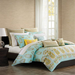 Echo - Echo Paros Duvet Set - The Echo Paros Bedding Collection gives your bedroom a fresh, modern update. Made from 300 thread count cotton sateen, this twin duvet cover features a background of teal, inspired by the color of the sky over the Greek island of Paros. An overscaled paisley motif repeats across the bottom of the duvet while a small floral motif repeats across the top giving a pattern variation that pulls the eye upwards. The color palette of teal, white, and dusty yellow provides a calming environment to your bedroom allowing you to relax at the end of your day. Face: T300 100% cotton sateen fabric; Back: T180 100% cotton.