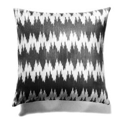 5 Surry Lane - Black Flamestitch Zig Zag Pillow - Bring a dash of worldly appeal to your room with this globally inspired pillow.  It will brighten any space with its vivid pattern and exotic vibe.  Reverses to solid.  Down/feather insert included.  Hidden zipper closure.  Made in the USA.