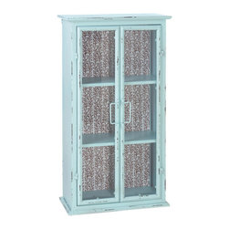 Shabby Chic Wall Cabinet - This decorative wall cabinet adds a vintage-inspired style to your room. Featuring a cool blue hue and a vine pattern backing, it's as functional as it is pretty.