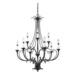 Feiss - Peyton 2-Tier Chandelier by Feiss - With fluid scrollwork and a high-contrast color palette, the Murray Feiss Peyton 2-Tier Chandelier will make a grand centerpiece in any French Country dining room. The double-decker frame is an intricate network of delicate curves in a deep Black finish. This dark tone both contrasts with and emphasizes the white holders and bright, shimmering light.Murray Feiss lighting boasts an award-winning team of industrial, graphic and interior designers and engineers that guarantee only the finest materials are used for their products.The Murray Feiss Peyton 2-Tier Chandelier is available with the following:Details:Steel frameBlack finishRound ceiling canopy5' of chainUL ListedLighting:Nine 60 Watt 120 Volt Candelabra Base Incandescent lamps (not included).Shipping:This item usually ships within 3-5 business days.