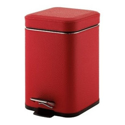Gedy - Square Red Waste Bin With Pedal - Unique, stylish square waste basket with pedal.