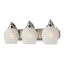 Elk Lighting - Elk Lighting 570-3N-WHT 3 Light Vanity in Satin Nickel & White Mosaic Glass - 3 Light Vanity in Satin Nickel & White Mosaic Glass belongs to Vanity Collection by Elk Lighting   Sconce (1)