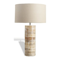 Interlude - Interlude Sagamore Wood Lamp - The Sagamore Wood Lamp in natural white washed wood and tan linen is sure to freshen up any space.
