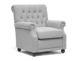 """Baxton Studio - Baxton Studio Moretti Light Gray Linen Modern Club Chair - you,l never regret a lazy afternoon when sitting in our beautiful Moretti Club Chair!  Chock full 'o elegance, this modern yet classic style is built sturdily with a wooden frame, dense foam cushioning, and a removable seat cushion.  Of course, the upholstery and detailing shine brightest: light gray linen, a button tufted backrest, silvertone metal nailhead armrest trim, and a scrollback.  Black wooden legs with non-marking feet round out a great set of features.  This fabulous modern lounge chair is made in China, requires some assembly, and is also available in dark charcoal gray.  Spot clean only.  'Dimension: 31.25"""" x 34""""D x 35.25""""H"""