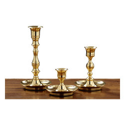 Alliyah Rugs - Cape Fear Candlestick (Set of 3) - Accent the glow of your evening with a solid brass candle holder with lacquer coating. The stately appearance showcases extensive detail work. Handcrafted, the brass candlestick is forged from a sand casting. The rich brass finish catches the light and reflects it back into the room. Add the ambiance of candlelight to the home with a truly distinctive brass candlestick.