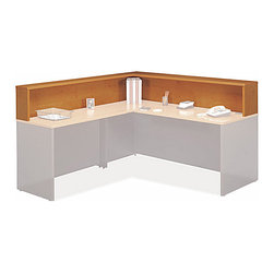 """Bush Business - Reception """"L"""" Hutch in Natural Cherry - Serie - The Series C Natural Cherry Reception """"L"""" Hutch easily mounts on a 72 inch desk with a 48 inch return bridge.  This versatile hutch assembles right or left handed to suit your preference and features a durable melamine top surface. * Provides convenient guest sign in area. Mounts on Desk 72"""" with Return Bridge 48"""". Assembles right or left handed. 1"""" thick top with melamine surface. Ships ready for easy assembly. 76.89 in. W x 70.984 in. D x 13.976 in. H"""