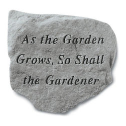 Kay Berry - As The Garden Grows Garden Stone Multicolor - 61720 - Shop for Statues and Sculptures from Hayneedle.com! Reflect on the truth and beauty of the As The Garden Grows Garden Stone. Cut from durable cast stone this garden stone will not chip or crack from exposure to inclement elements sure to stand the test of time. The natural carved aesthetic draws an allusion between nature and the divine.About Kay Berry ProductsProudly hand-cast in the USA Kay Berry products offer kind sentiments and quality decor. From whimsical to poignant the verses on Kay Berry products are thoughtful and serve as a fine way to add both beauty and comfort wherever they're placed. Artisans craft Kay Berry designs from actual stone originals. Kay Berry products are meticulously reproduced using materials and methods developed in ancient Rome. Since the family-owned company's inception in 1991 pride and honor go into each and every Kay Berry item.Please note this product does not ship to Pennsylvania.