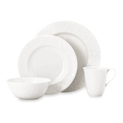 Lenox - Lenox Opal Innocence Carved 4-Piece Place Setting - This popular Lenox fine china pattern is now available for everyday use. Just as beautiful as the original, the Opal Innocence Carved dinnerware presents the vine and dot motif as a raised relief scroll design on every piece.