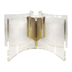 Used Curved Lucite & Brass Coffee Table Base - Coffee table base with curved Lucite and a brass center. Would look striking with various sized or shaped glass tops - please note, glass top is not included. In very good condition, with light wear to the brass.