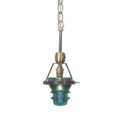 Hester and Cook - Single Telegraph Pendant - Antique insulators suspended in pendant light fixture bring a bit of nostalgic flair to your space. Line a few of these up along a bar for creative mood lighting. Select clear or morse blue glass. (HC)