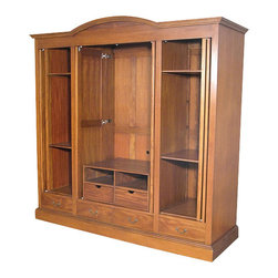 MBW Furniture - Mahogany 4 Pocket Doors Media Entertainment Armoire Wardrobe - This product is finely constructed from top grade kiln-dried Solid Mahogany. Artisans use the old world method of tongue and groove and mortise and tenon joinery to create this beautiful and durable piece of furniture. Its superb hand-crafted quality will add a touch of elegance to your home.